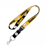 "Pittsburgh Steelers Officially Licensed MLB 1"" Width Keychain Lanyard w/ Detachable Buckle"