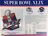 Super Bowl XLIX (49) Willabee and Ward Patch Card New England Patriots vs. Seattle Seahawks 2015