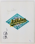 Tony LaRussa & Dave Stewart Signed 8x10 Athletics Logo Jersey Swatch JSA #S39387