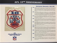Willabee & Ward AfL 10th Anniversary 1969 Season NFL Team Patch Card
