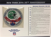 Willabee & Ward New York Jets 25th Anniversary 1984 Season Team Patch Card
