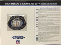 Willabee & Ward San Diego Chargers 40th Anniversary 2000 Season Team Patch Card