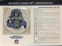 Willabee & Ward Detroit Lions 60th Anniversary 1993 Season NFL Team Patch Card