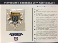Willabee & Ward Pittsburgh Steelers 60th Anniversary 1992 Season Team Patch Card
