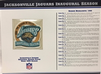 Willabee & Ward Jacksonville Jaguars 1995 Inaugural Season NFL Team Patch Card