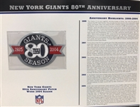 Willabee & Ward New York Giants 80th Anniversary 2004 Season Team Patch Card