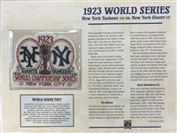 Willabee & Ward 1923 World Series Patch Card  New York Yankees Vs New York Giants