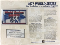 Willabee & Ward 1977 World Series Patch & Stat Sheet  Ny Yankees Vs La  Dodgers