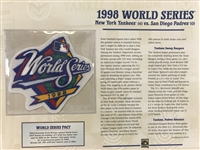 Willabee & Ward 1998 World Series Patch & Stat Sheet-  Ny Yankees Vs Sd Padres