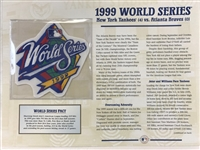 Williabee & Ward 1999 World Series Replica Patch  Notes Ny Yankees Atlanta Braves