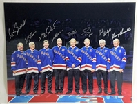 8 New York Rangers Legends (Messier, Leetch, Richter) Signed 16x20 Photo Steiner
