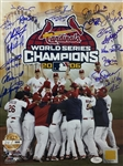 St. Louis Cardinals 2006 Team Signed 11x14 Photo with 20 signatures JSA COA