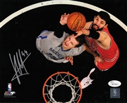 Nikola Mirotic Signed Bulls 8x10 Photo vs Nets Autographed JSA Witness COA