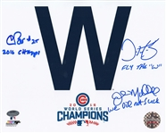 "Dave Martinez, Chris Bosio & John Mallee Signed Cubs ""W"" 8x10 Photo Schwartz COA"