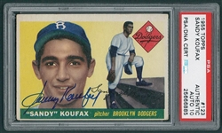 Sandy Koufax Signed 1955 Topps Rookie Card #123 PSA Graded Mint 10 Autograph