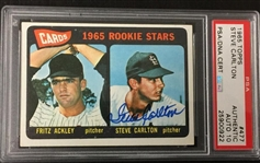 Steve Carlton Signed 1965 Topps Rookie Card  #477 PSA Graded 10 Autograph