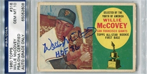 Willie Mccovey Signed HOF 86 1960 Rookie Topps Card PSA Graded 10 Autograph