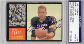 Bart Starr Graded 9 1962 Topps Signed Card #63 PSA Slabbed