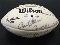 Bart Starr, Ray Nitschke, Jim Taylor Plus 8 More Green Bay Packers Signed Wilson Football JSA COA