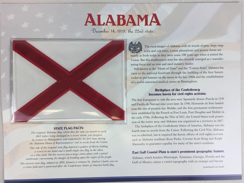 Alabama Willabee & Ward State Flag Patch with Statistics and Collectible Info Card