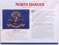 North Dakota Willabee & Ward State Flag Patch with Statistics and Collectible Info Card