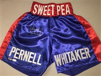 "Pernell Whitaker Signed ""Sweet Pea"" Blue Boxing Trunks JSA COA"