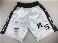 "Michael Spinks Inscribed ""Jinx"" Signed Boxing Trunks JSA Witnessed"