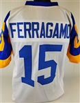 Vince Ferragamo Los Angeles Rams Custom White/Yellow Away Jersey Mens XL