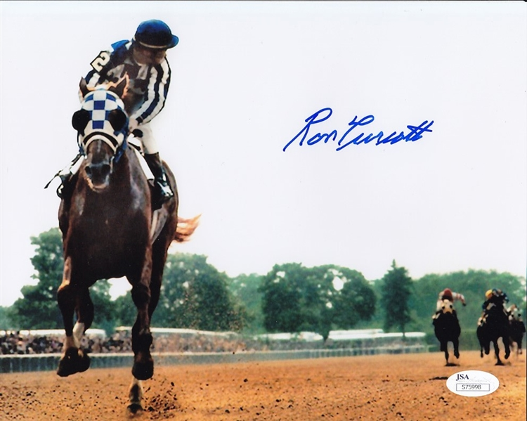Ron Turcotte Signed 1973 Secretariat 8x10 Color Photo JSA Hologram & COA