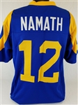 Joe Namath Los Angeles Rams Custom Blue/Yellow Home Jersey Mens XL