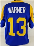 Kurt Warner Los Angeles Rams Custom Blue/Yellow Home Jersey Mens 3XL
