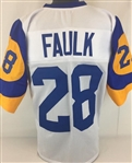 Marshall Faulk Los Angeles Rams Custom White/Yellow Home Jersey Mens 3XL