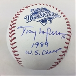 "Tony Larussa Oakland As Signed ""1989 WS Champs"" 1989 World Series Baseball JSA COA"