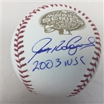 "Ivan Rodriguez Florida Marlins Signed ""2003 WSC"" 2003 World Series Baseball JSA COA"